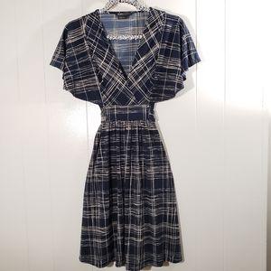 BCBGMAXAZRIA  Flutter Sleeve Self Tie V Neck Dress